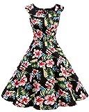 Bbonlinedress Modèle 15 Vintage rétro 1950's Audrey Hepburn Robe de Soirée Cocktail en col U année 50 Rockabilly Black Flower 4XL