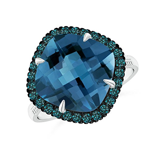 Angara.com - 14 Kt Weißgold Kissenschliff London Blue Topaz (London Ring Blue Weissgold In Topas)