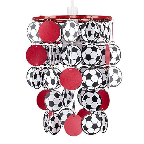 MiniSun - Football Foot, abat-jour en rouge et noire. Suspension pour les chambres des enfants