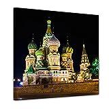 Bilderdepot24 Kunstdruck - Basilius Kathedrale in Moskau - Russland - Bild auf Leinwand - 60x60 cm einteilig - Leinwandbilder - Bilder als Leinwanddruck - Wandbild