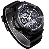 CFGem Herren Uhr Zeiger Und Digitaler Sport Wasserdicht mit PU-Kunststoff Armband SKM-0993 Schwarz