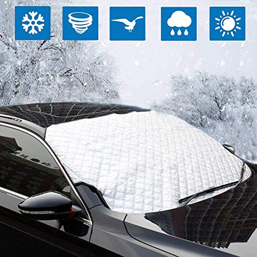Windschutzscheiben-Schneedecke, verdickte Schneedecke mit Eisschaber-Bonus Frost & Ice Windschutzscheiben-Schutz winddicht für vier Jahreszeiten, passend für die meisten Fahrzeuge 160cm x 110cm / 62.9