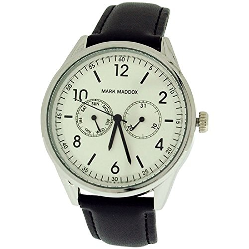 Mark Maddox Gents Day-Date Silvertone Dial & Black PU Strap Watch HC0007-04