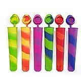 6 Stampi ghiaccioli / Stampi per gelati realizzati in silicon di alta qualità priva di BPA, gelato migliore gelato forme, ideale per la preparazione di ghiaccioli, gelati, sorbetti ecc, i vostri bambini li adoreranno (Multicolor)