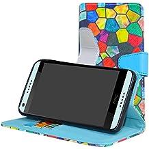HTC Desire 650 Funda,Mama Mouth PU Cuero Billetera Cartera Monedero Con Soporte Funda Caso Case para HTC Desire 650 Smartphone,Stained Glass