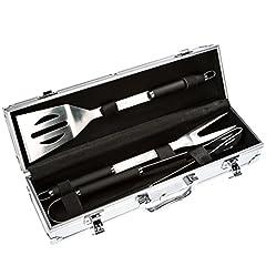 Idea Regalo - Bruzzzler Set posate da grill in acciaio inox, 3 pezzi, in valigetta