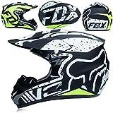 GWJ Adulte Hors Route Casque Dot Dirt Bike Motocross VTT Moto Tout-Terrain/Lunettes/Masque/Gants XL,Snowflake,L