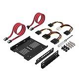 Inateck Cadre de montage pour 2 x HDD/SSD de 2,5 Pouces, 2,5' HDD/SSD vers 3,5' Disque Dur Interne, 2 Câbles SATA et 2 Câbles d'alimentation Inclus (ST1004)