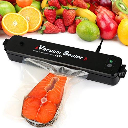Kekilo Vakuumiergerät, Kompakter Vakuumierer zum Vakuumversiegelten Einschweißen von Lebensmitteln,Automatisches Folienschweißgerät, Inklusive 15 Folienbeuteln-Schwarz