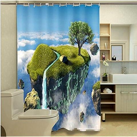 GYMNLJY Tenda doccia Tenda doccia impermeabile stampata caratteri spazio paesaggio 3D , 200*180cm