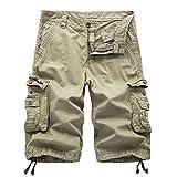 AYG Cargo Shorts Herren Bermudas Baumwolle Shorts(khaki,34)