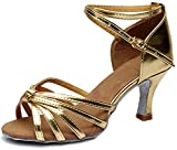 Minetom Damen Pumps Einfarbig Riemen Satin Tanzschuhe Ballsaal Latein Schuhe 5cm Absatz Tango Tanzschuhe mit Absatz Rumba Samba Cowboy Stierkampf Tanzschuhe ( Gold EU 38 )