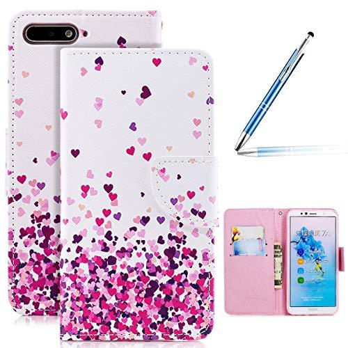 Huawei Honor 7A Leder Hülle Flip Wallet Case Cover Brieftasche Hülle Schutzhülle mit 4D Bunt Vintage Painted Schmetterling Katze Muster PU Premium Schale Handy Tasche Handyhüllen Huawei Honor 7A
