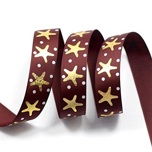 Midi nastro oro tema nautico stella marina argento Dot Design Pattern Stampa Deco grosgrain ribbon-7/8