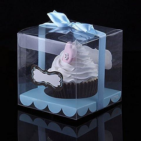 Ibex klar Single Cupcake Box PVC blau Band und Einsatz 10Stück (Single Cupcake Box)