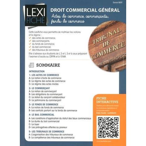 Droit commercial général : Actes de commerce, commerçants, fonds de commerce