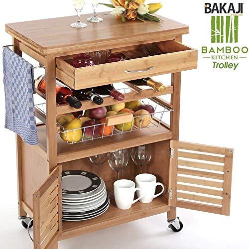 BAKAJI Carrello Cucina in Legno di Bambù con Portabottiglie, 2 Ante, unica