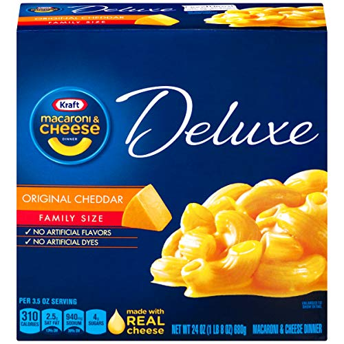 Kraft Deluxe Macaroni and Cheese Dinner, Original Cheddar, Family Size Box, Net wt 680g (1 lb 8 oz)