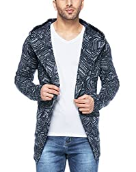 Tinted Mens Cotton Blend Hooded Cardigan