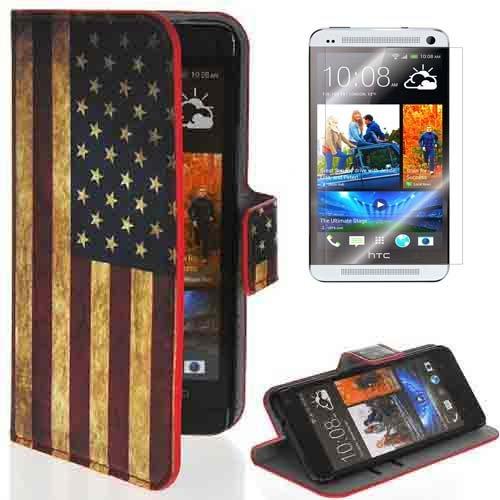 Castho 2 in 1 Zubehörsets für HTC One (M7) Retro USA Amerika Flagge Ledertasche Wallet Schützhülle Tasche Cover mit Displayschutzfolie / Standfunktion