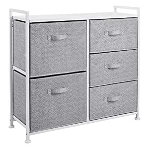 AmazonBasics Fabric 5-Drawer Storage Organizer Unit for Closet, White