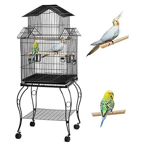 Yaheetech Cage Oiseaux sur Pied Volière Détachable pour Perruche Perroquet Canari Mandarin Extérieur 59 x 59 x 139,5 cm