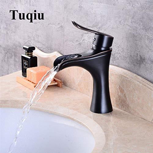 Kai&Guo Becken Wasserhahn Schwarz Öl Gebürstet Wasserfall Wasserhahn Messing Bad Wasserhahn Mischbatterie Hot & Cold Sink Wasserhahn, ORB (Delta Trinkwasser Wasserhahn)