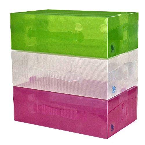 hs-20-cajas-de-zapatos-para-mujer-apilables-plegables-plastico-transparente-verde-y-rosa