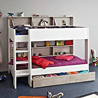 Happy Beds Tam Tam Wooden Kids Bunk Bed with Underbed Storage Drawer and Storage Shelves - Euro Single 90 x 200 cm