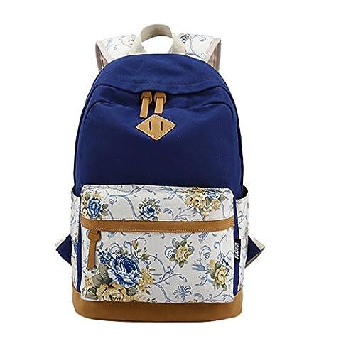 iTECHOR Mode Druck Segeltuch -Rucksack Blumenmuster Kleine Laptop-Umhängetasche - Dunkelblau (Oilily Kindertasche)