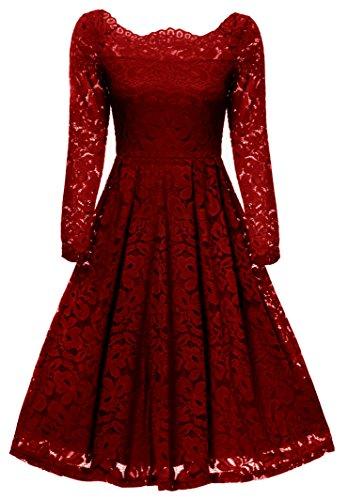 Rot Kleid Petticoat (Gigileer 50s Damen Kleider Spitzenkleid Schulterfrei Langarm knielang festlich Cocktail Abendkleid Rot)