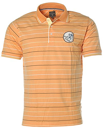 Kitaro Herren Kurzarm Shirt Poloshirt Streifen Pacific Coast Peach