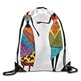 KAKICSA Unisex Gym Bag Tribal Ladies In Traditional Costume Silhouettes Ethnicity Elegance Drawstring Gym Sack Sport Bag for Men and Women