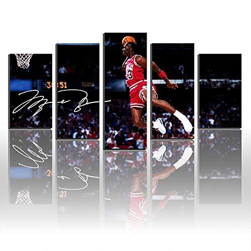 Karen Max Kunstdruck auf Leinwand, Motiv Michael Jordan Wings, 11 Autogramme, gerahmt, Schwarz Size1:12x16inx2,12x24inx2,12x32inx1Frame -