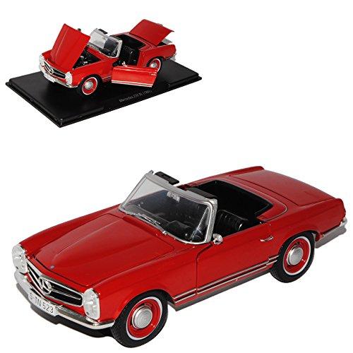 Mercedes-Benz 230SL Pagode Roadster Rot 1963-1971 W113 Mit Sockel und Vitrine 1/24 Modellcarsonline Modell Auto (Für Modell Vitrine Autos)