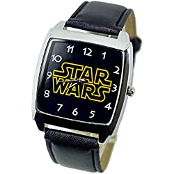 TAPORT® STAR WARS Quartz SQUARE Watch Black Real Leather Band +FREE SPARE BATTERY+FREE GIFT BAG