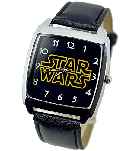 Reloj de pulsera con mecanismo de cuarzo, correa negra de piel y esfera cuadrada con letras de Star Wars (incluye pila de repuesto y bolsa para regalo), de TAPORT