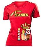 Spanien Espania Spain Fan t Shirt artike 3207 Fuss Ball World Cup Jersey EM 2020 WM 2022 Trikot Look Flagge Fahne Team Frauen Damen Mädchen L