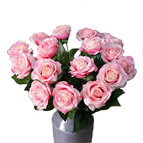 DELEY 6pcs Real Touch Rose Seide Gefälschte Künstliche Blume Anordnung Blumenstrauß Hochzeit Partei Dekoration Hauptdekor Licht Rosa