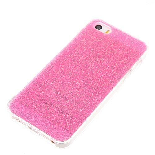 iPhone 5 Hülle, Voguecase Silikon Schutzhülle / Case / Cover / Hülle / TPU Gel Skin für Apple iPhone 5 5G 5S SE(Dijiao Glitzer-Silber) + Gratis Universal Eingabestift Dijiao Glitzer-Rose