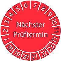 Prüfplakette - Nächster Prüftermin 2018-2023 ROT 30mm / Prüfetikett / Prüfaufkleber selbstklebend
