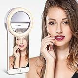 TYCKA Luz del Anillo 40 LED Ideal para Selfie, Dimmable luz cálida y Blanco frío, Enganche Tipo Clip y diseño Recargable,Ultra-Brillante, para la fotografía teléfonos Inteligentes(de Carga USB)