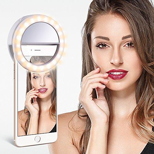 TYCKA Selfie Anneau de Lumière 40 LED, Contrôle Progressif de la luminosité, Réglage Indépendant Blanc Chaud et Blanc Froid, Clip-sur et Design Rechargeable, Ultra-Lumineux, pour iPhone Samsung