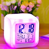#8: Romino 7 Colour Changing LED Digital Alarm Clock with Date, Time, Temperature for Office and Bedroom