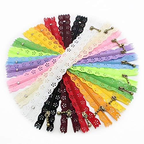 MAXGOODS 10 Stücke 20 cm / 7,87 Zoll Spitze Geschlossene Ende Reißverschlüsse Nylon Für DIY Nähen Geldbörse Taschen Craft Kleidung Zubehör Multicolor -