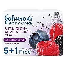 JOHNSON'S Body Soap - Vita-Rich, Replenishing Raspberry Extract, 125g, Pack of 6
