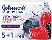 JOHNSON'S, Body Soap, Vita-Rich, Replenishing, 125g, Pack of 5 + 1Free