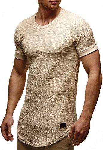 LEIF NELSON Herren Oversize T-Shirt Hoodie Sweatshirt Rundhals Ausschnitt Kurzarm Longsleeve Top Basic Shirt Crew Neck Vintage Sweatshirt LN6324 S-XXL; Größe L, Beige