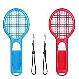 Voviqi Tennisschläger für Nintendo Switch Joy-Con Controllers und Switch Tennisspiel,Tennis Racket für Mario Tennis Aces,Arms and Motion Sensing Spiele(Blau und Rot)