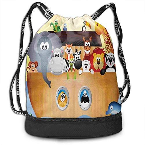 MSGDF Animals On The Ark in The Sea School Drawstring Bag Backpack Bundle Backpack (Animal Ark-box)